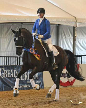 California's Lehua Custer and Ramzes celebrate their Region 7 victory, and are now preparing for the trip of a lifetime to the US Dressage Finals presented by Adequan.