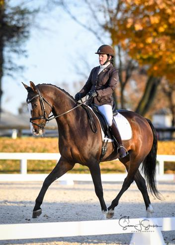 Despite frigid morning temperatures, Linda Currie and Frost T heated up the dressage ring for a winning score in the Third Level Adult Amateur Championship.