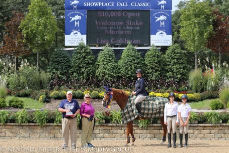 Lisa Goldman and Morocco win the 0,000 Open Welcome Stake, sponsored by Adequan, during the Showplace Fall Classic Championship.