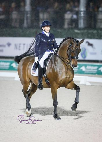 Local rider Shelly Francis (USA) completes her test one-handed on Doktor, by Diamond Hit. They finish third with 73.56%.