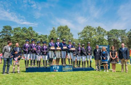 Longines FEI European Championships™ Fontainebleau for CH-J-YR Junior Eventing Podium (Photo: FEI/Łukasz Kowalski)