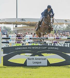 Longtime partners, and perennial crowd favorites, Rich Fellers (USA) and Flexible claimed victory at the Longines FEI World Cup™ Jumping North American League qualifier at Thunderbird Show Park in Langley, British Columbia, yesterday. (FEI/Rebecca Berry)