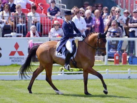 Here he is again: Michael Jung (GER), riding La Biosthetique Sam, has taken the lead after the first day of Dressage at the Mitsubishi Motors Badminton Horse Trials (GBR), fourth leg of the FEI Classics™ 2015/2016 (Sebastian Oakley/FEI)