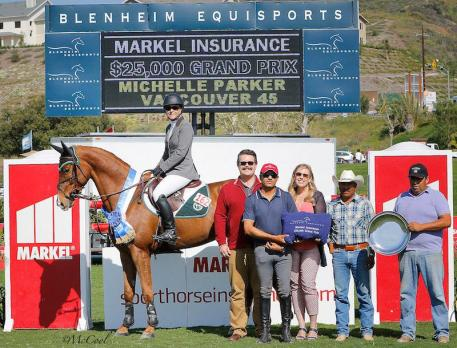 Michelle Parker and Vancouver 45 celebrate the win in the first grand prix of the 2016 Blenheim EquiSports season, with Brandon Seger of Markel Insurance, Alex Alvarado, Melissa Brandes of Blenheim EquiSports, Armando Salazar and Salvador Alvarado