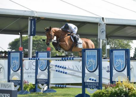 Molly Ashe-Cawley and Cassandra won the 0,000 Palm Beach Masters Open Jumper 1.45m class at the Hampton Classic. © Shawn McMillen