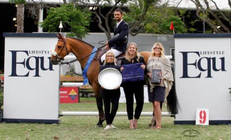 Nayel Nassar with Monica Ward of Equ Lifestyle, Blenheim EquiSports' Melissa Brandes  and Lauren Davis of EquiFit, inc.