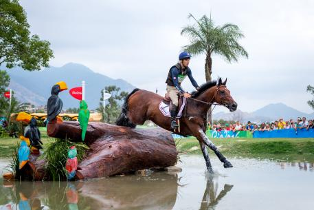 Astier Nicolas FRA and Piaf de B'Neville competing in the Cross country phase at the Rio 2016 Olympic games Pic Arnd Bronkhorst