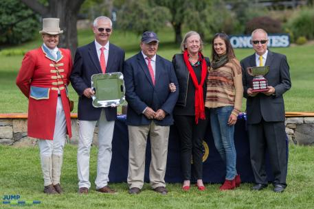 From L-R: Ringmaster Alan Keeley, Old Salem Farm Manager Alan Bietsch, Old Salem Farm Foundation Lifetime Achievement Award recipient Ralph Caristo, Holly Caristo, Heather Caristo-Williams, and Michael Morrissey of Morrissey Management Group. (Photo: Jump Media)