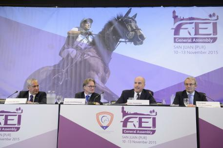 Olympic formats were the focus of today's session at the FEI General Assembly in San Juan (PUR), with FEI President Ingmar De Vos (left) leading discussions with National Federations on proposed changes to Olympic competition formats. The three Olympic discipline Chairs, Frank Kemperman (Dressage), John Madden (Jumping) and Giuseppe Della Chiesa (Eventing) detailed the proposals to delegates.