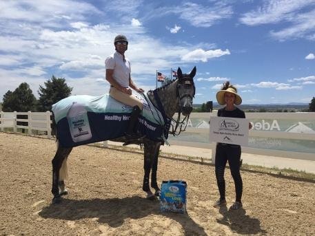 Omega Alpha Healthy Horse winner week 4 Michael Tokaruk and Corcovado receiving their award.