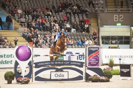 Longines FEI World Cup Jumping™ Oslo Winner Penelope Leprevost riding Flora de Mariposa