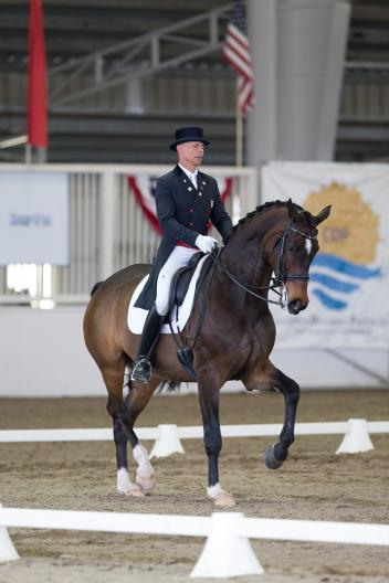 Steffen Peters & Legolas 92 were victorious in the CDI Grand Prix test on the first day of the Dressage Affaire CDI3*.   Photo: Terri Miller