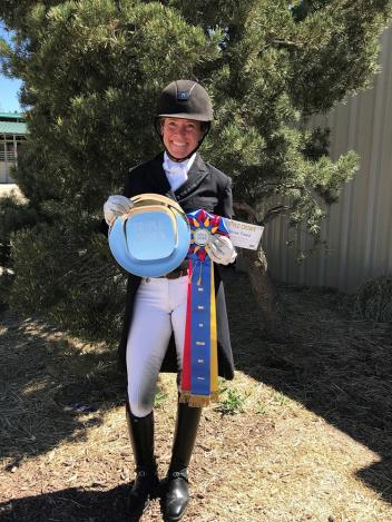 Petra Warlimont receiving the Triple Crown Excellence Award during the High Prairie Dressage Show