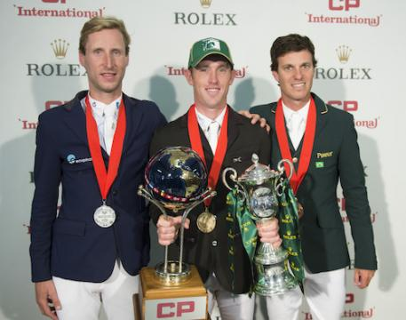 Pieter Devos, Scott Brash and Pedro Veniss after taking top three in the .5 Million CP International, presented by Rolex