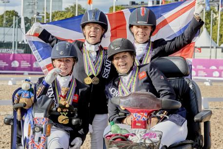 Great Britain take gold in the Para Dressage Team Competition at the Longines FEI European Championships 2017 in Gothenburg, Sweden. From left to right: Susanna Hext (Grade III), Erin Orford (Grade III), Julie Payne (Grade I) and Sophie Wells (Grade V).