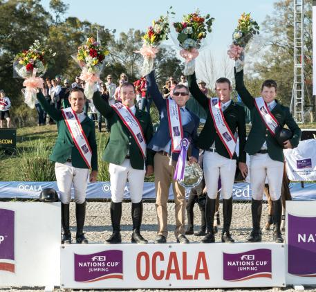 Team Ireland won the second leg of the FEI Nations Cup™ Jumping 2017 series at Ocala (USA) today. L to R: Kevin Babington, Cian O'Connor, Chef d'Equipe Michael Blake, Richie Moloney and Shane Sweetnam.