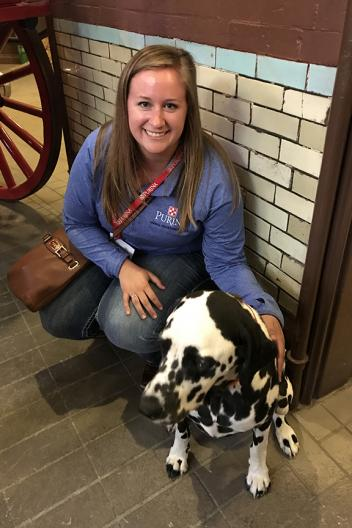 Claire Hoffman and Clyde visit at the Budweiser Brewery Stables