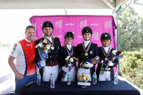 Allyn Mann of Adequan® with the Gold medal winning Region 1 team from the U.S. including Nicholas Hansen, Elizabeth Bortuzzo, Mallory Chambers, and Lian Wolf.