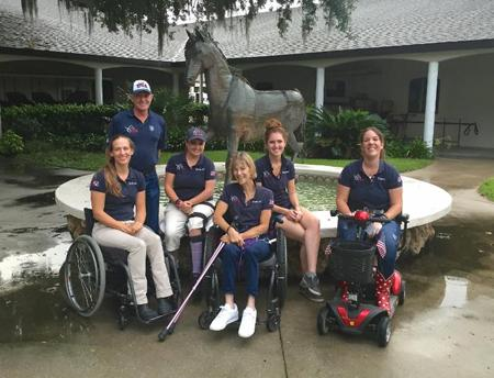 2016 U.S. Paralympic Equestrian Athletes, Rebecca Hart, Chef d'Equipe Kai Handt, Sydney Collier, Margaret McIntosh, Annie Peavy, and Roxanne Trunnell