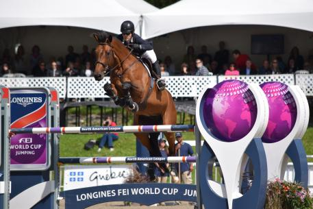 Canadian Isabelle Lapierre rides Cescha M to victory at the Longines FEI World Cup™ Jumping qualifier in Bromont (CAN), Sunday 6 August 2017.