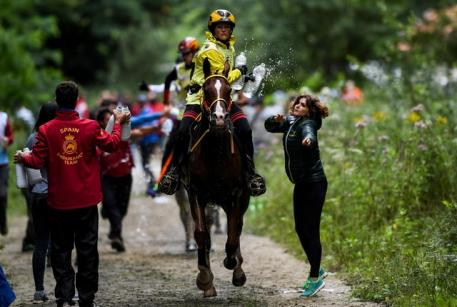 Germany's Sabrina Arnold and Tarzibus on their way individual gold at the FEI European Endurance Championships in the UNESCO World Heritage site, Sonian Forest in the heart of the Belgian capital Brussels