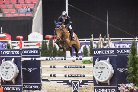 Samuel Parot of Chile and Atlantis winners of the Longines FEI World Cup™ Jumping Calgary