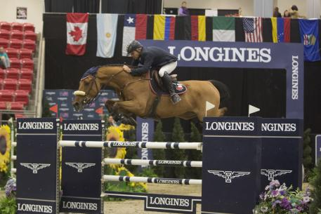 Samuel Parot and Couscous von Orti winner of $35,000 Spirit of the West Cup at Royal West, Calgary, Alberta, Canada.