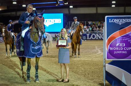 Winners Samuel Parot (CHI) and Atlantis with Jillian Percella of Longines