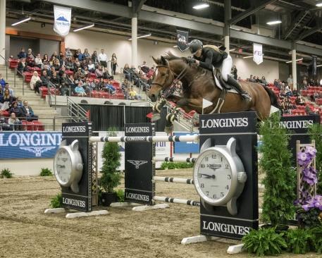 "Longines FEI World Cup™ Jumping Calgary Royal West, Stampede Park, Calgary, AB. Third was SarahSCHEIRING riding ""DONTEZ"" USA"