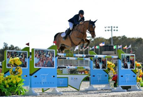Scott Keach and Fedor on their way to a 00,000 FEI City of Ocala Grand Prix win at HITS Post Time Farm in Ocala, Florida.