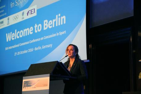 Secretary General Sabrina Ibáñez addresses the 5th International Consensus Conference on Concussion in Sport held in Berlin (GER). (Adam Steiss)