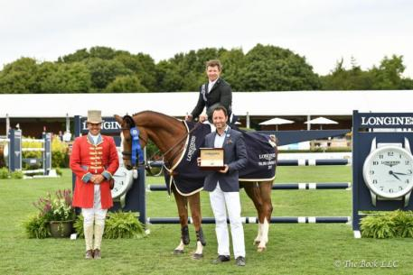 Shane Sweetnam received a Longines watch for winning Saturday's $50,000 Longines Cup at the Hampton Classic