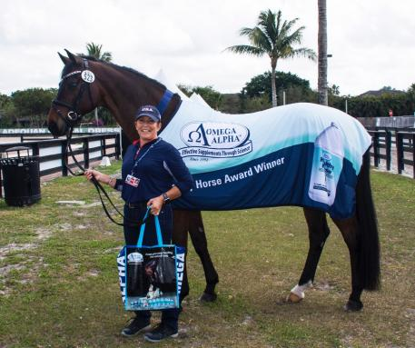 Shelly Francis and Doktor Winners of the Omega Alpha Healthy Horse Award during Week Seven