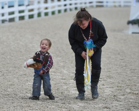 """Make and Take Stick Horse: We supply the """"horse"""" and all the trimmings to deck-out your mount for a ride in the famed Dixon Oval – with professional announcers and judges."""