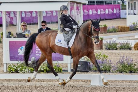 Denmark's Stinna Tange Kaastrupd with Horsebo Smarties takes gold in the Grade II freestyle to achieve one of the highest marks of the Longines FEI European Championships in Gothenburg (SWE) 2017, with 77.06%