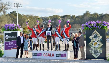 [L to R] Christian and Kim Oliver, Edge Brewing Barcelona; McLain Ward, Beezie Madden, Robert Ridland, Lauren Hough and Todd Minikus, U.S. Show Jumping Team; Dalene Paine, Foreign Judge; and Tom Struzzieri, HITS President and CEO.