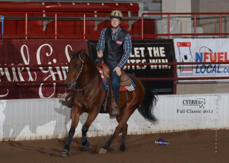 Cole Jacobs on his own Ruf N Loaded scores the win in first day's CNYRHA Para-reining class.