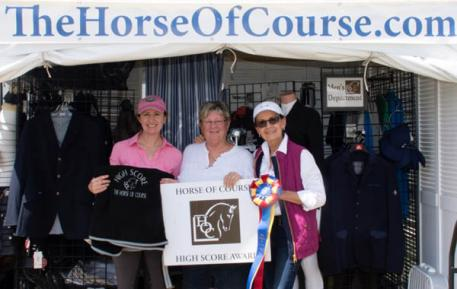 Belinda Trussell (left) and Barbara Holden-Sinclair (right) accept The Horse of Course High Score Award from Beth Haist (middle).