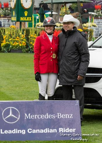 Tiffany Foster of North Vancouver, BC, is presented as the Mercedes-Benz Leading Canadian Rider by Stefan Karrenbauer, President and CEO, Mercedes Benz Financial. Photo © Starting Gate Communications