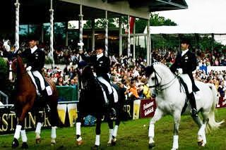 Parade of Nations Aachen Leslie Morse and Tip Top with teammates Guenter Seidel and Robert Dover.