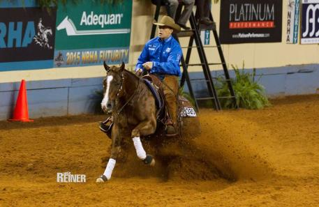 Todd Bergen and Redd Snapper lead the over all high composite score for the Open Futurity after completing section one of the Semi-Finals.