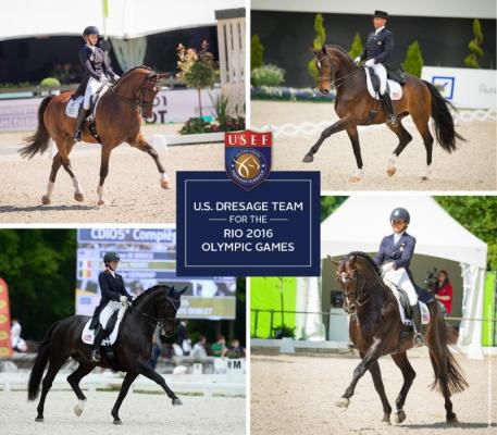 Members of the 2016 U.S. Olympic Dressage Team, clockwise from top left: Laura Graves, Steffen Peters, Allison Brock, and Kasey Perry-Glass