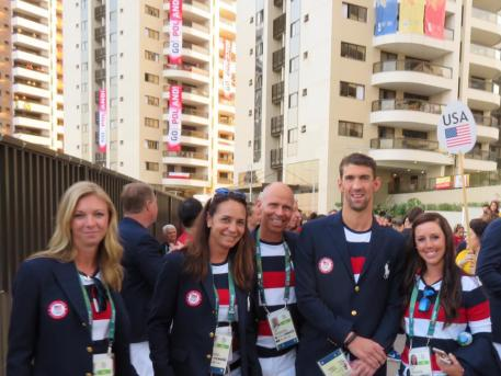 US Dressage Team poses with Michael Phelps at Rio Olympics