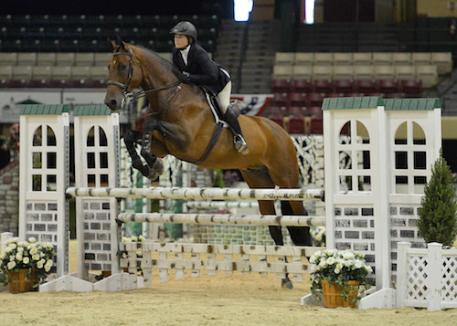 Victoria Colvin and Clearway on their way to  winning the 17-Year-Old Equitation Championship.