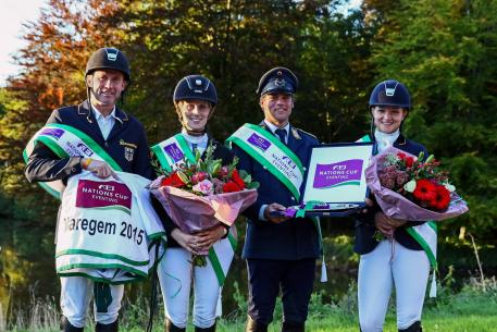 Germany scored its third win in FEI Nations Cup™ Eventing this season, this time at Waregem (BEL), from left to right: Andreas Dibowski, Annamaria Rieke, Andreas Ostholt and Julia Krajewski.