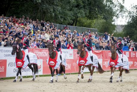 Team Gold Medalists Great Britain (L-R) Nicola Wilson & Bulana, Rosalind Canter & Allstar B, Oliver Townend & Cooley SRS and Kristina Cook & Billy the Red take a lap of honour - FEI European Eventing Championships - Strzegom, Poland - 20 August 2017