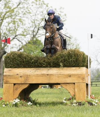Zara Tindall (GBR) on High Kingdom placing third after cross-country during the Rolex Kentucky 3-Day Event at the Kentucky Horse Park in Lexington, Kentucky, April 29, 2017.