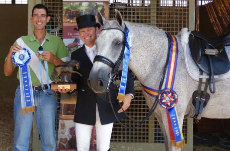 Lusitano gelding Zerbino Interagro with rider John Zopatti (right) and handler Gary Yeager (left) won multiple National Champion titles at the 2015 IALHA National Championship Show