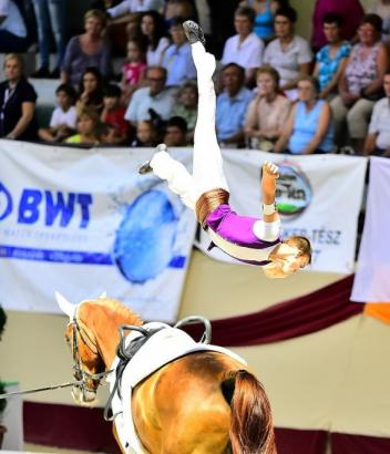 Balázs Bence scored Hungary's first vaulting Championships victory, and his first individual win, at the FEI European Vaulting Championships for Juniors 2014 in Kaposvár (HUN) on 3 August 2014. (Daniel Kaiser/FEI)