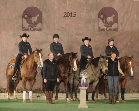 Briana Bartlett of Lincoln, Nebraska and Chromed Tejon; Erin Alberta of Seattle, Washington riding Berry Shiney;  Catherine Sherwood of Seattle, Washington riding Hollywood Aces; and Lara Oles of Heber City, Utah riding Smart N Shiney.  Standing: Lisa Coulter and Kathleen Beck Tischler.